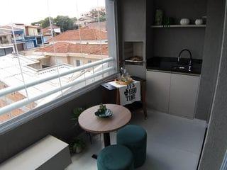 Foto do Apartamento-Apartamento para Venda em Santo André no bairro Vila Curuçá 2 quartos, suíte e varanda gourmet com churrasqueira. Planta diferenciada. Fase final de obras.