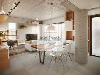 Foto do Apartamento-Apartamento à venda em Curitiba, com uma suíte, sala de estar/jantar, cozinha, lavanderia coletiva e uma sacada com churrasqueira.