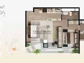 Foto do Apartamento-Apartamento à venda no bairro Água Verde, com uma suíte, lavanderia coletiva, cozinha, sala de estar/jantar e uma sacada com churrasqueira,