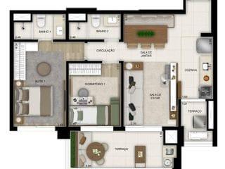 Foto do Apartamento-Lançamento no Brooklin 2 dormitorios 69m de area útil previsão para 2022