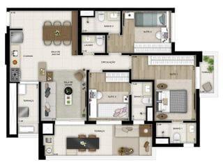 Foto do Apartamento-Apartamento no Brooklin 103m no contra piso 3 dormitorios duas vagas de garagem