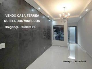 Foto do Casa-Vendo Casa Térrea Nova, 3 Dormitórios, Quinta dos Vinhedos, Bragança Paulista SP.