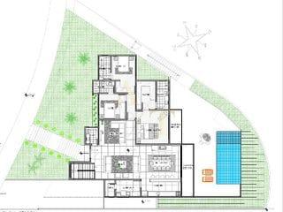 Planta do Sobrado-Casa semi terrea no Residencial New Ville, 3 Suítes, quintal com piscina e gourmet com vidro no  Suru, Santana de Parnaíba, SP