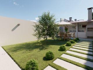 Foto do Sobrado-Oportunidade em Jardim Casa Branca Suzano SP - 2 Quartos - 2 Vagas de Garagem - 70m² de area construida - churrasqueira no fundo com grama e area coberta