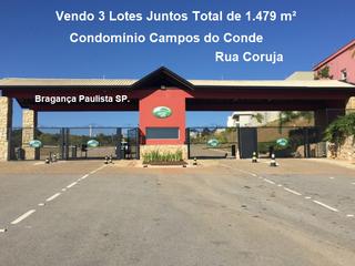 Foto do Terreno-Vendo 3 Terrenos Juntos 1.479 m² Condomínio Campos do Conde, Rua Coruja, Bragança Paulista SP